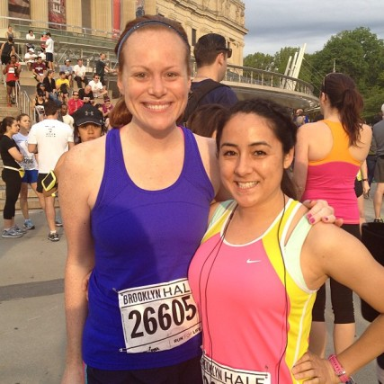 My friend Jill and I at the start of the Brooklyn Half Marathong